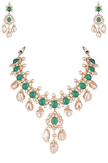 Gold plated emerald, kundan and pearl necklace set by VASTRAA Jewellery-JEWELLERY ON DISCOUNT