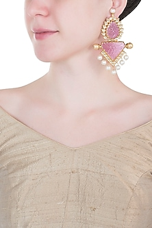Gold plated rose quartz earrings by VASTRAA Jewellery