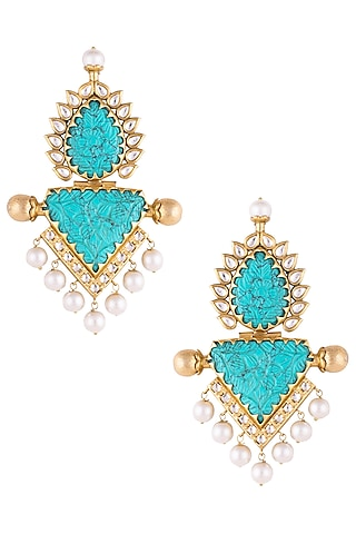 Gold plated turquoise stone earrings by VASTRAA Jewellery