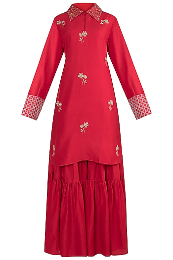 Red embroidered sharara set by VASTRAA