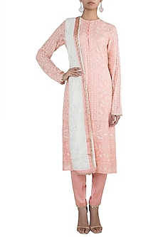 Peach embroidered lucknowi kurta set by VASTRAA
