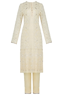Yellow embroidered lucknowi kurta set by VASTRAA