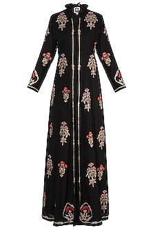 Black Hand Embroidered Long Jacket With Maxi Skirt by Varsha Wadhwa