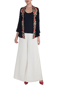 Midnight Blue Hand Embroidered Open Jacket With Camisole by Varsha Wadhwa