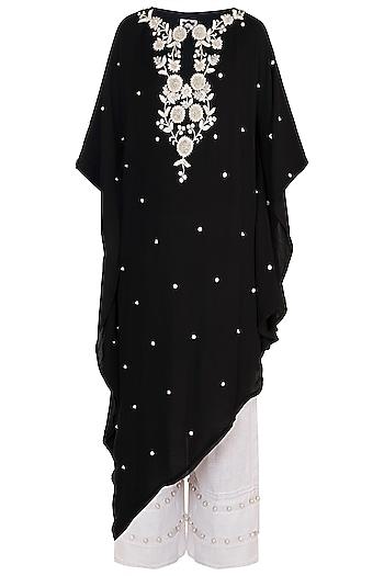 Black Hand Embroidered Kaftan With Cropped Pants by Varsha Wadhwa