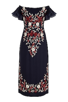 Midnight Blue Embroidered Floral Midi Dress by Varsha Wadhwa