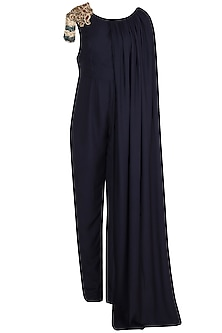 Midnight Blue Embroidered Caped Jumpsuit by Varsha Wadhwa