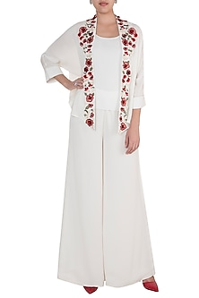 White Hand Embroidered Open Jacket With Camisole by Varsha Wadhwa