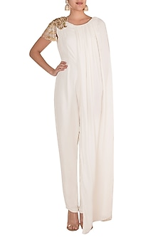 White Embroidered Caped Jumpsuit by Varsha Wadhwa