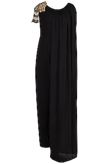 Black Embroidered Caped Jumpsuit by Varsha Wadhwa
