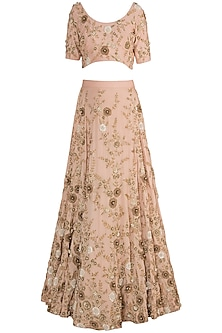 Tea Rose Embroidered Lehenga Set by Varsha Wadhwa