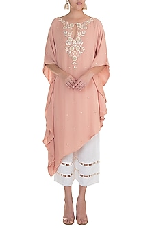 Tea Rose Embroidered Kaftan With Pants by Varsha Wadhwa