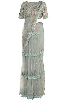 Ice Blue Embroidered Saree Set by Varsha Wadhwa