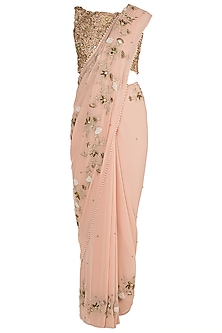 Tea Rose Embroidered Saree Set by Varsha Wadhwa