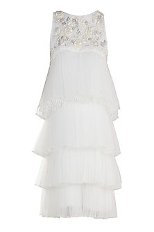 White Embroidered Tiered Dress by Varsha Wadhwa