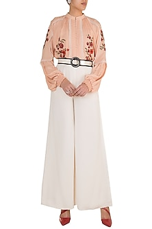 Tea Rose Embroidered Top by Varsha Wadhwa