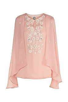 Tea Rose Embroidered Cape Top by Varsha Wadhwa