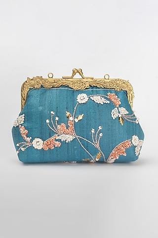 Blue Khadi Silk Clutch by Vareli Bafna Designs