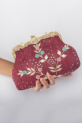 Maroon Khadi Silk Clutch by Vareli Bafna Designs