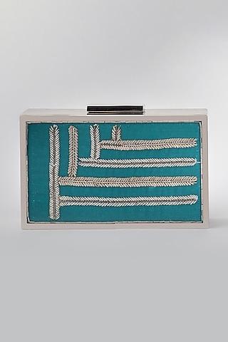 Blue Clutch With Iron Frame by Vareli Bafna Designs