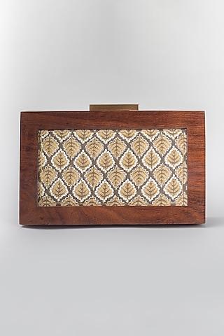 Beige Clutch With Iron Frame by Vareli Bafna Designs