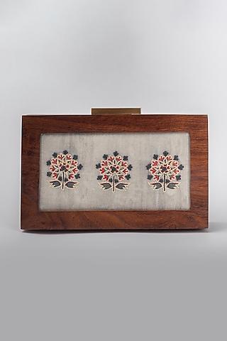 Grey Blossom Printed Clutch by Vareli Bafna Designs