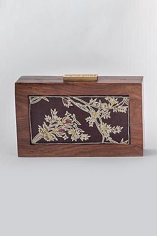 Brown Blossom Printed Clutch by Vareli Bafna Designs
