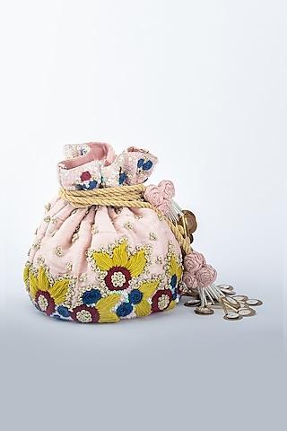 Pink Raw Silk Potli by Vareli Bafna Designs