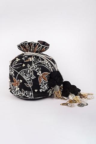 Black Raw Silk Potli by Vareli Bafna Designs
