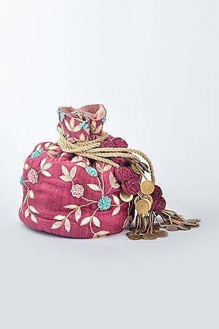 Maroon Khadi Silk Potli by Vareli Bafna Designs
