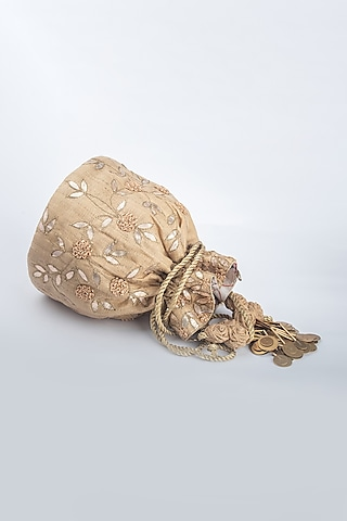 Beige Khadi Silk Potli by Vareli Bafna Designs