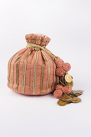 Pink Khadi Silk Potli by Vareli Bafna Designs