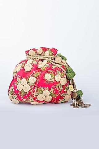 Red Raw Silk Potli by Vareli Bafna Designs