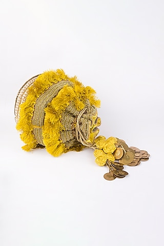 Gold Potli With Tassels by Vareli Bafna Designs