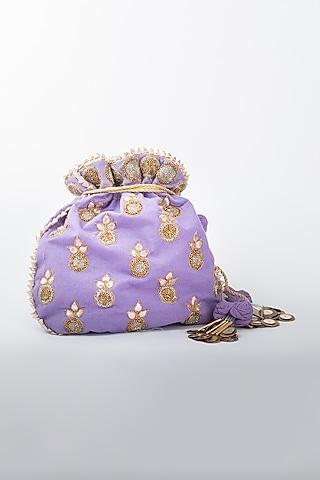 Purple Heavy Linen Potli by Vareli Bafna Designs