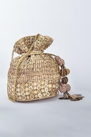 Gold Raw Silk Potli by Vareli Bafna Designs