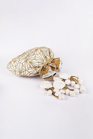 White Pure Raw Silk Potli by Vareli Bafna Designs