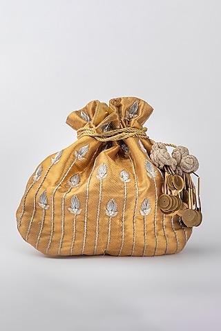 Gold Banarasi Potli by Vareli Bafna Designs