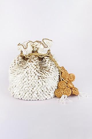 White Heavy Linen Potli by Vareli Bafna Designs