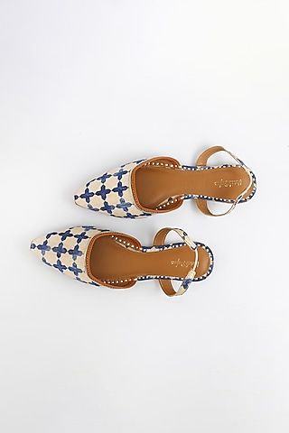 Pearl White & Royal Blue Embroidered Flats by Vareli Bafna Designs