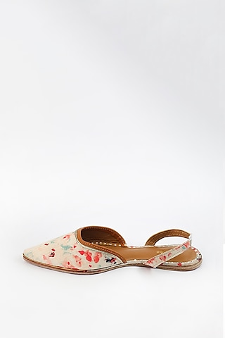 Pearl White Embroidered & Printed Flats by Vareli Bafna Designs