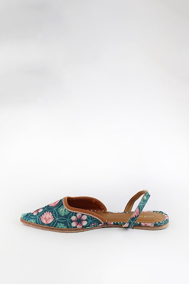 Emerald Green Printed & Embroidered Flats by Vareli Bafna Designs