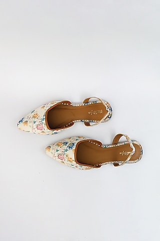 White Braided Embroidered Flats by Vareli Bafna Designs