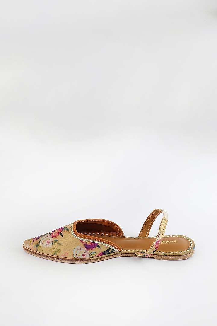 Golden Rod Braided Embroidered Flats by Vareli Bafna Designs