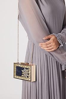 Teal Blue Embroidered Sling Clutch by Vareli Bafna Designs