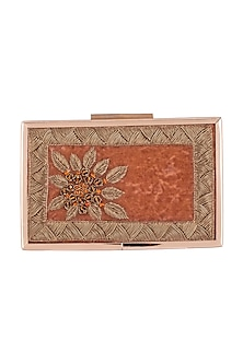 Rust Orange Embroidered Sling Clutch by Vareli Bafna Designs