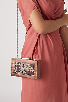 Brown Printed Embroidered Sling Clutch by Vareli Bafna Designs