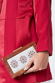 Grey Printed & Embroidered Sling Clutch by Vareli Bafna Designs