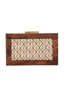 Grey Printed & Embroidered Clutch by Vareli Bafna Designs