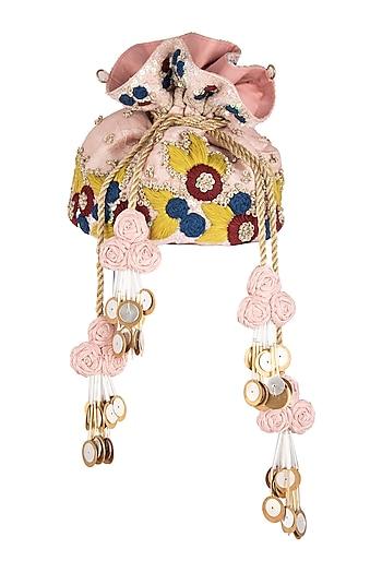 Pink Embroidered Potli Bag by Vareli Bafna Designs